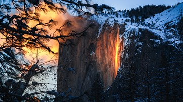 Yosemite's incredible waterfall that looks like it's on fire appears this time of year