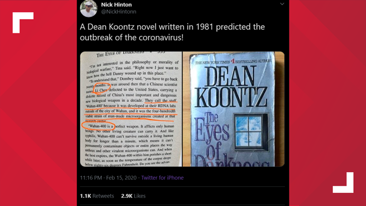 VERIFY: Dean Koontz did not predict the coronavirus outbreak in his 1981 book