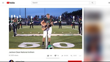 WATCH: High school football star's national anthem goes viral