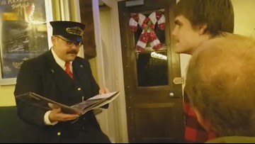 Teen with autism rides the Polar Express