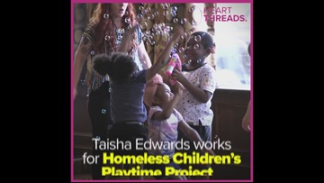 Young woman organizes playtime for children experiencing homelessness
