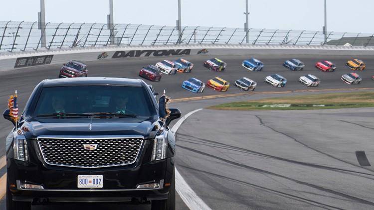 Daytona limo Trump NASCAR Daytona 500 Auto Racing