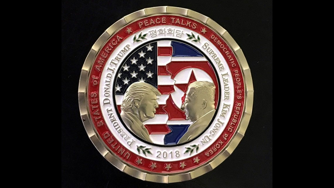 trump kim peace talks coin