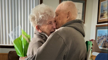 Husband released from nursing home, surprises wife on 84th birthday