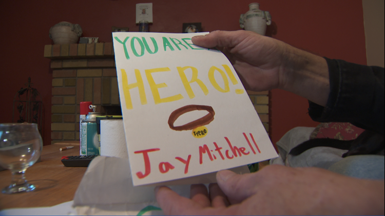 A card sent by 5th-graders at Visitation School to Jay Mitchell