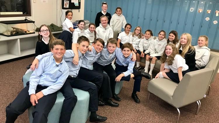 Last year's 5th-grade class reunites at Visitation School.