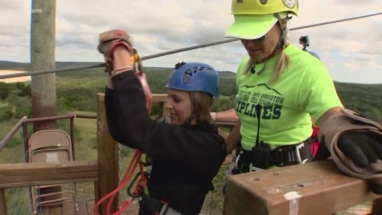 Ziplining at 30 miles per hour through the Texas Hill Country
