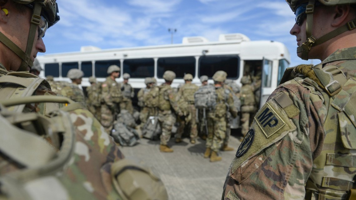 First batch of soldiers arrives at border in support role against migrant caravan