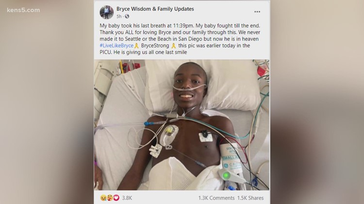 Tributes pour in after San Antonio teen Bryce Wisdom dies of kidney cancer