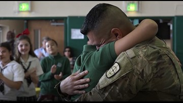 Soldier returns from deployment, reunites with son days before his 12th birthday