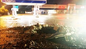 Lightning strike zaps 15-foot hole in Fort Worth parking lot