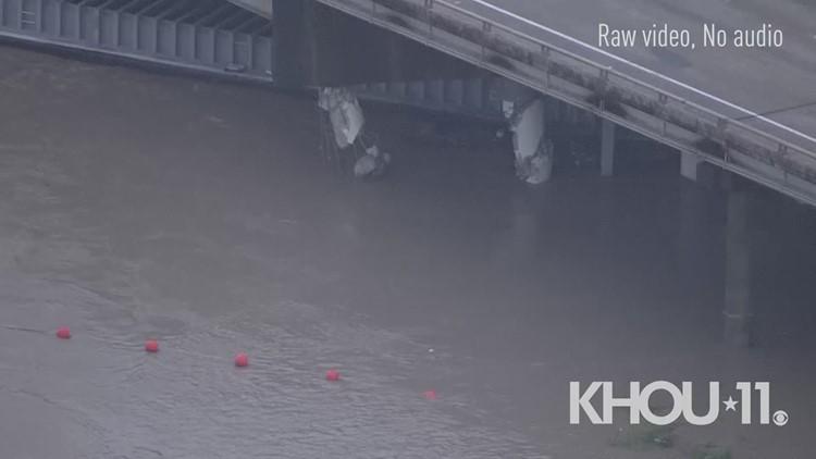 Major damage to I-10 East bridge over San Jacinto River due to barge strike