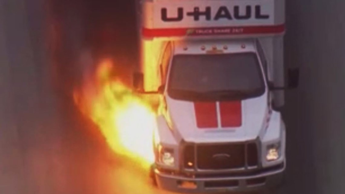 Flames shoot from U-Haul truck during a police chase in California