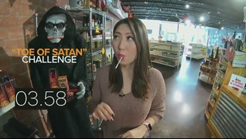 'Toe of Satan' Challenge   Lollipop is 900 times hotter than a jalapeno!