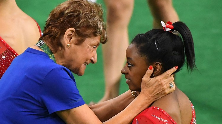 Aug 4, 2016; Rio de Janeiro, Brazil; USA Team head coach Martha Karolyi (L) with Simone Biles during artistic gymnastics training in preparation for the Rio 2016 Summer Olympic Games at Rio Olympic Arena. Robert Deutsch-USA TODAY Sports