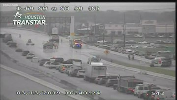 3 southbound lanes of US 59 at SH 99 closed after truck