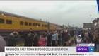 Travelers gathered in Navasota as Locomotive 4141 pass through town