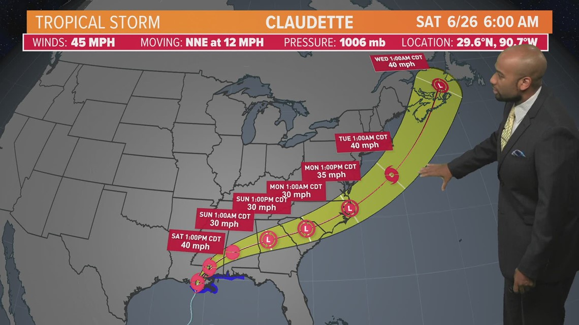Tropical Storm Claudette forms just outside of New Orleans