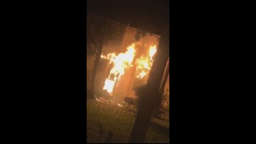 RAW VIDEO: Fire at historic Heights home