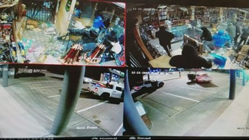 RAW VIDEO: Masked burglars steal dozens of firearms during smash-and-grab on Highway 6