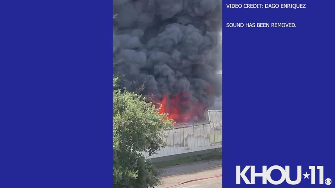 Raw Video: Burning business along Katy Freeway