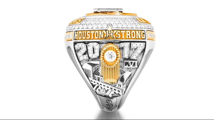 The Houston Astros received their World Series Championship rings Tuesday night, custom-made by Texas jeweler Jostens.