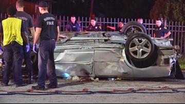 Two dead in rollover crash in northeast Houston, third