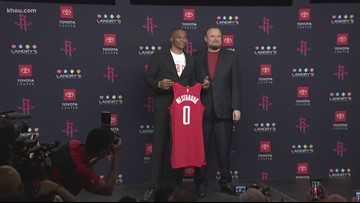 Russell Westbrook introduced as a Houston Rocket