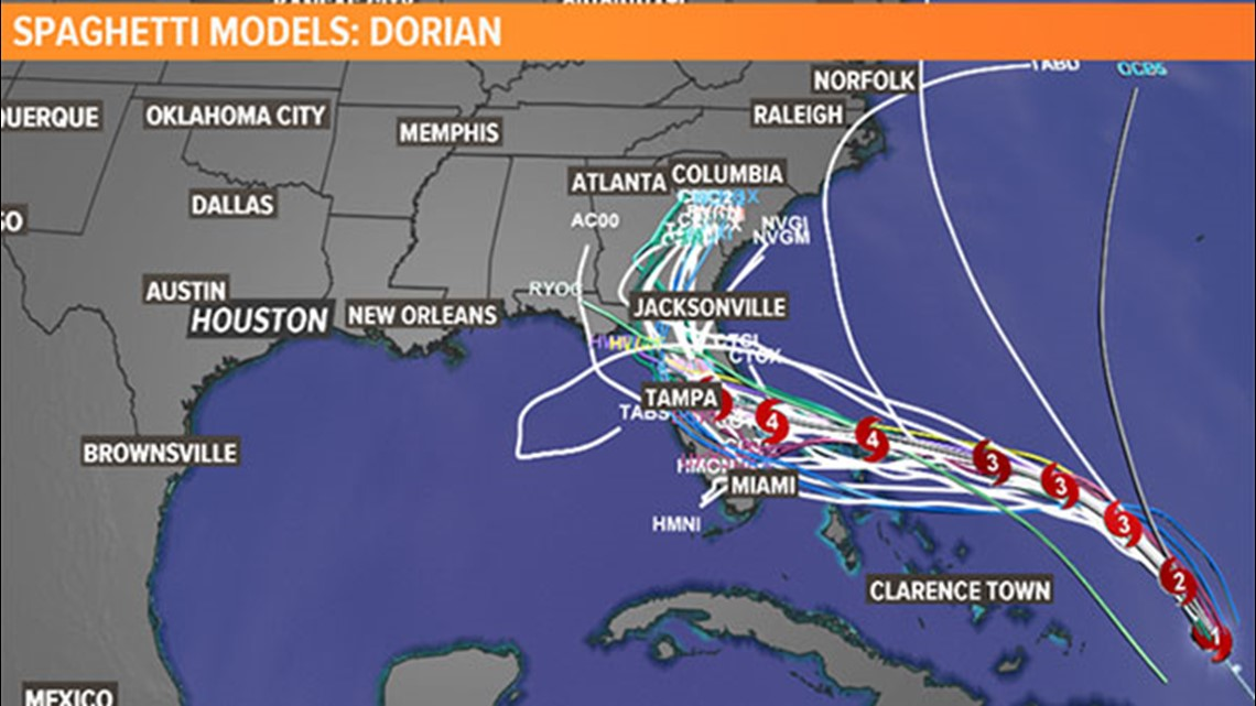 hurricane dorian  forecast track  spaghetti models and
