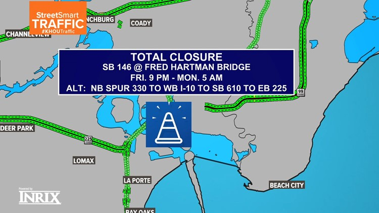 Baytown traffic alert: Fred Hartman Bridge closures this weekend; Reduced lanes for 2 months after