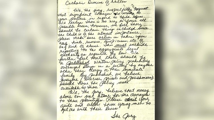 Jury letter to Randy Kos