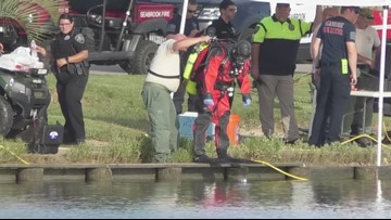 Raw video: Search crews look for body of man who drowned while fishing with son
