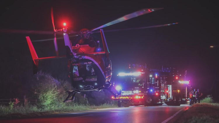 Life Flight leaves crash scene in rural Harris County