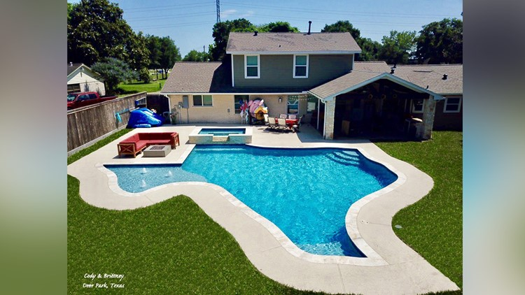 8b52f8e93fb Cody Rogers shared these photos of his family's Texas-shaped pool at their  home in
