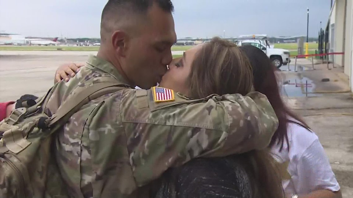 US Troops welcomed home with hugs, happy tears at Hobby Airport in Houston