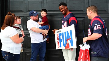 Texans players surprise veteran with Carnival cruise, game tickets