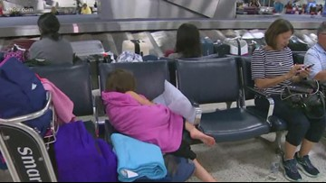 Rush Block: Storms leave hundreds of travelers stranded at Bush Airport overnight