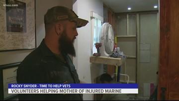 Volunteers help mother of injured marine