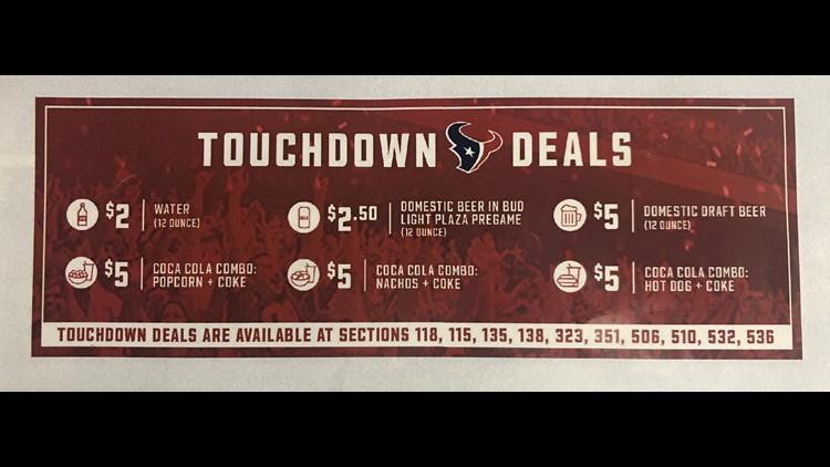 Houston Texans Touchdown Deals for the 2019 season