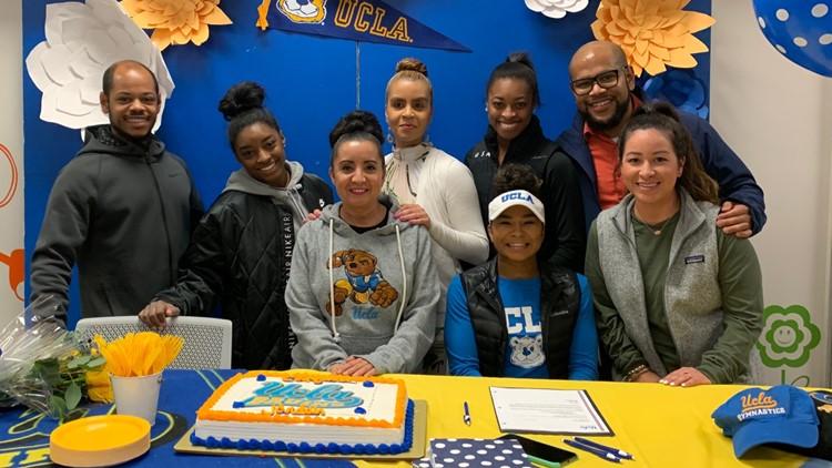 Simone Biles cheers on fellow Houston gymnasts headed to UCLA, Auburn