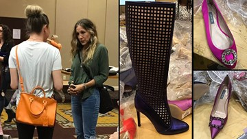 Sarah Jessica Parker selling SJP shoes in Houston for a cause close to her heart