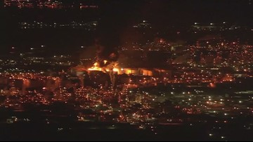 Raw Video: Air 11 over tank fire near Deer Park on Monday morning