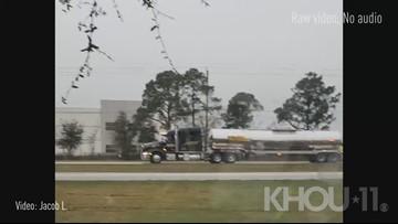 Raw: Formaldehyde truck overturns in La Porte, blocks Fairmont Parkway