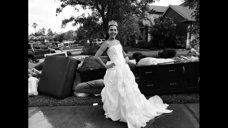 <p>Kristy Mathoslah decided to have a little fun after Hurricane Harvey flooded her home.</p>
