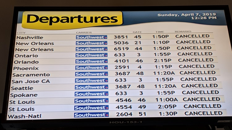 Several Flights Cancelled Delayed At Houston Airports Due