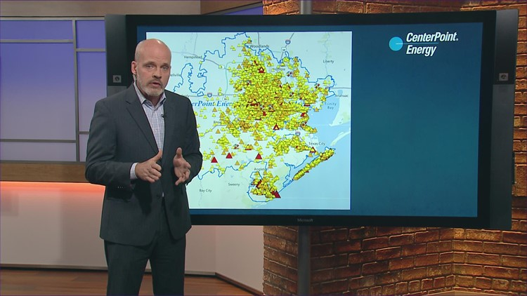 Power outage update: 64,000 CenterPoint still without power Wednesday afternoon