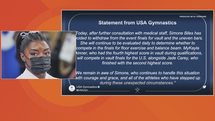 Simone Biles pulls out of Olympic vault, bars