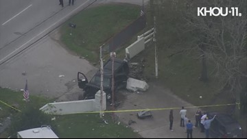 Raw video: Car crashes into gas meter near Channelview
