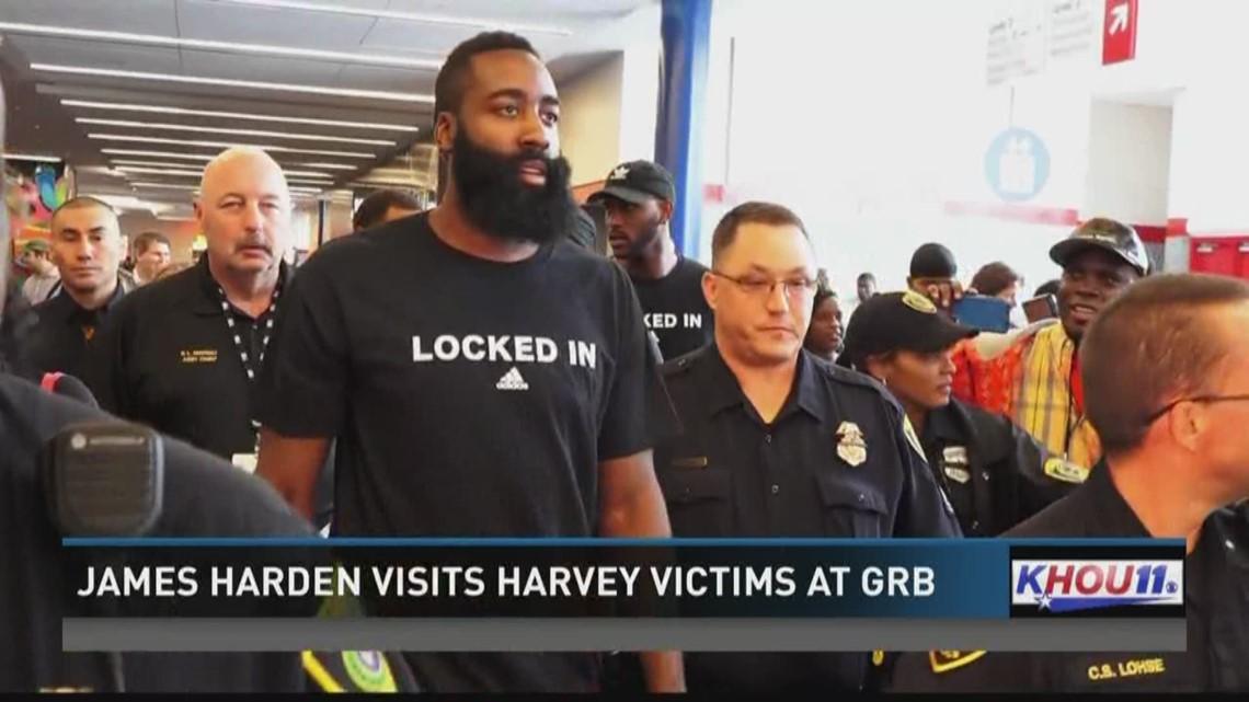 James Harden Visits Harvey Victims At GRB