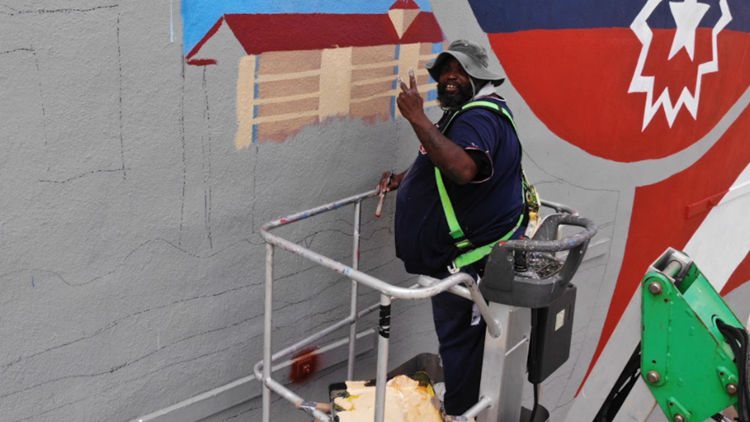 New Juneteenth mural in Galveston took 27 days, 1,296 labor hours and 312 gallons of paint